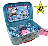 Oojami 23 Piece Childrens Pretend Tin Tea Set Including a Carrying case Unicorn Theme