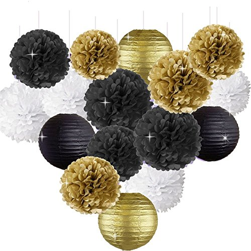 Happy New Year Party Decorations Black White Gold Tissue Paper Pom Pom Paper Lanterns for Great Gatsby Decorations/New Years Eve Party/Birthday Decorations/Bridal Shower Decorations
