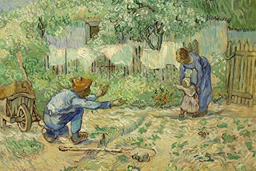 // TPCK // Póster de Vincent Van Gogh (1890), diseño con texto en inglés 'First Steps after Millet', tamaño A2 (42 x 59,4 cm)