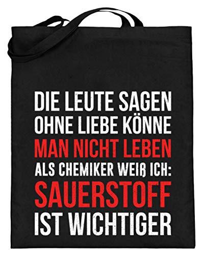 Ideal für Alle Chemie Fans - Jutebeutel (mit langen Henkeln) -38cm-42cm-Schwarz