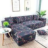 WXQY Funda de sofá elástica geométrica Simple combinación Todo Incluido Funda de sofá Antideslizante Funda de sofá de Esquina en Forma de L A13 4 plazas