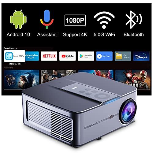 """Beamer Full HD Android 10—Artlii Play3 5G WLAN Bluetooth Beamer 4k mit 350"""" Display und Unterstützung AC-3, 340ANSI 1080P Projektor mit 4D Trapezkorrektur und 350'' Display Für Büro, Zuhause"""