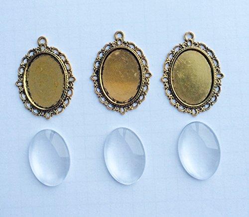3 Sets Cabochon Anhänger Medaillon Memorial Set zum Selberbasteln DIY oval (gold)
