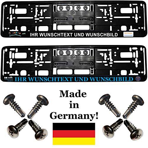 2 Kennzeichenhalter mit Wunschtext/Wunschbild Werbung bedruckt (keine Folie) mit Schrauben (!!! Nicht für Österreich geeignet !!!)