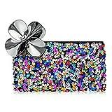 MAC Sequin Makeup Bag with Flower Detail Zipper - Multi Color Cosmetic Case