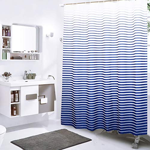 """Xxuan Home Stripe Fabric Shower Curtain, 72"""" x 72"""" Waterproof with Hooks, Decorative Shower Curtain for Bathroom, Hotel"""
