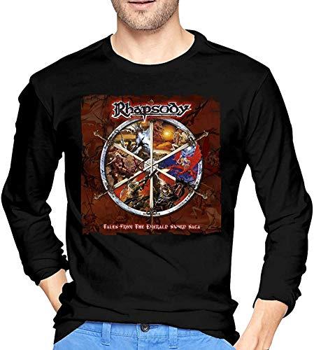 Gioventù & Adulto Nero Manica Lunga Rhapsody of Fire T Shirt per gli Uomini Grafica Girocollo Tee Top Personalizzato Tees Abbigliamento Nero L