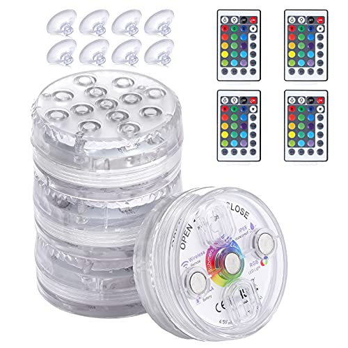 Czemo Luces Sumergibles, 4pcs Luces para Piscinas Impermeable, RGB Control Remoto Bajo El Agua Luz 13 LEDs16 Color, para Decoración Jardín Acuario Bañera Piscina SPA Fiesta