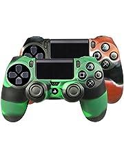 SMARDY Bundle - 2X Funda Cubierta de Silicona Rojo/Negro + Verde/Negro Compatible con PS4 Playstation 4 Controlador Mandos