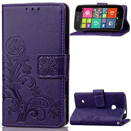 Nokia Lumia 530 Hülle / RM-1017 Hülle,[FQY-TEC][Lila]S[PU-Leder]&[TPU]Geldbörse,Kartensteckplatz,Unterstützung Hülle für Nokia Lumia 530(4.0