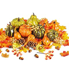 """Package: 11pcs mixture of artificial pumpkins and gourds, 100pcs maple leaves, 10pcs acorns,6pcs fall fruits and 2pcs pinecones. Pumpkins size: 2.3""""- 4"""" in Diameter and 2.3"""" - 5.3"""" High. Every Simulation Pumpkin is made of styrofoam, lifelike and won..."""