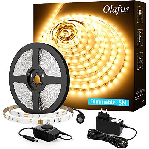 Olafus LED Strip 5M Warmweiß, 300 LEDs Band 3000K LED Streifen Warmweiss Dimmbar mit 12V Netzteil und Controller, Lichtband LED Selbstklebend für Innen Spiegel Küche Schrank Schlafzimmer Party Deko