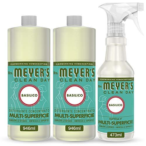 Mrs Meyers Clean Day – 1 spray multi-surfaces + 2 nettoyants concentrés multi-surfaces – Parfum Basilic – Produits créés avec des huiles essentielles – 1 x 473 ml + 2 x 946 ml – Set de nettoyage