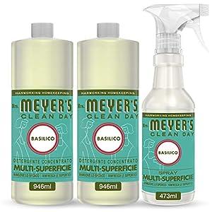 Mrs Meyer's Clean Day - Set de limpieza (1 spray multisuperficie + 2 limpiador concentrado multisuperficie, aroma albahaca, productos creados con aceites esenciales, 1 x 473 ml + 2 x 946 ml)