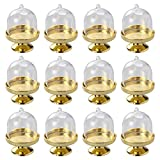 STOBOK 12pcs Mini soporte para tartas Cupcake Display Plate con tapa Cumpleaños Boda Halloween Party Supplies (base dorada)