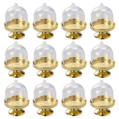 STOBOK 12pcs Mini Tortenständer Kuchenglocke Glasglocke mit Teller Hochzeit Party Servierplatte (Goldene Basis)