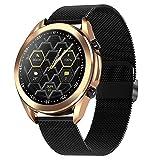 Smartwatch, Pantalla 1.28' Reloj inteligente, Reloj Deportivo para Hombre, Pulsera Actividad con Llamada Bluetooth, Monitor de Sueño Pulsómetro Podómetro, Notificación Inteligente,Metalic black b