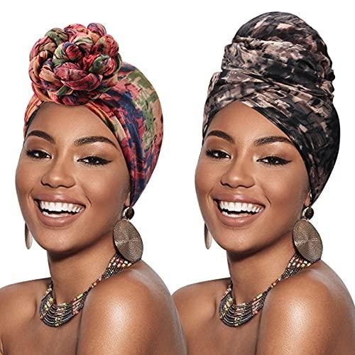 DRESHOW Turban Head Wraps for African Women Long Hair Scarf Shawl Hijab Headscarf Headwrap Hair Accessories