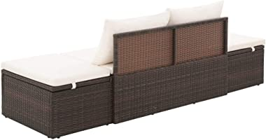 vidaXL Outdoor Lounge Bed Poly Rattan Adjustable Weather Resistant Padded Cushion Garden Daybed Backyard Lounge Reclining Bed