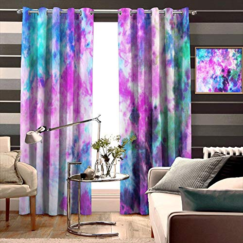 Thermal Insulated Light Blocking Bedroom Curtains Tie Dye Pattern Abstract Background Full Room Darkening Noise Reducing Used in Living Room Children's Nursery W52 x L63 Inch