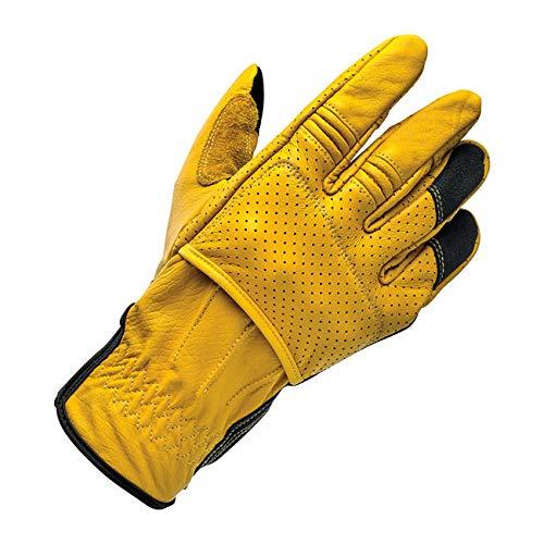 Biltwell Handschuhe, für Herren, Leder, Borrego Gold/Schwarz, Gelb/Schwarz, EC-geprüft, Verstärkungen an Knöcheln, Biker, Motorrad Custom Touchscreen, Touchscreen, Smartphone, Größe M