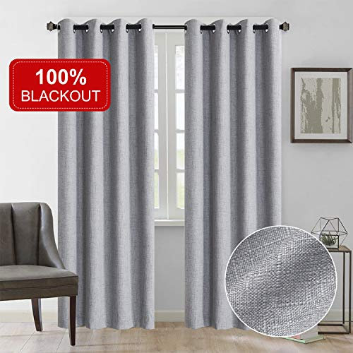 Rose Home Fashion Natural Linen Look, 100% Blackout Curtains(with Liner), Linen Blackout Curtains& Blackout Thermal Insulated Liner, Burlap Curtains-Set of 2 Panels(50x84 Gray)