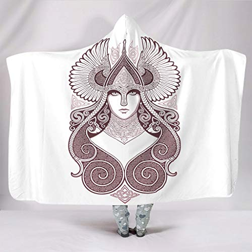 Festhad Ethnic Godness Tattoo Artwork Valkyrie Print Hooded Blankets Comfy Super Soft Warm Winter Thick Sherpa Hood Throw Blankets Wrap for Women Men Kids Sleeping Sofa Bedding White 50x60 inch