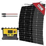 Kit de panel solar monocristalino flexible, 100 W, 12 V, regulador de carga, 20 A, cable de extensión, para caravanas, caravanas, caravanas, automóviles, barcos