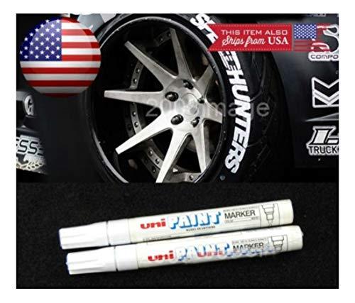 2 x White Waterproof Oil Based Pen Paint Marker for Nissan Tire Wheel Tread