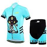 Ateid - Maillot de ciclismo para niños, manga corta, con pantalón, color Robo-Schädel, tamaño 146