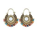 FENICAL 1 Paar Ohrschmuck Dekor baumeln Ohrringe bunten Perlen nationalen Stil Ohrstecker Ohr Dekor Ohrhänger für Damen