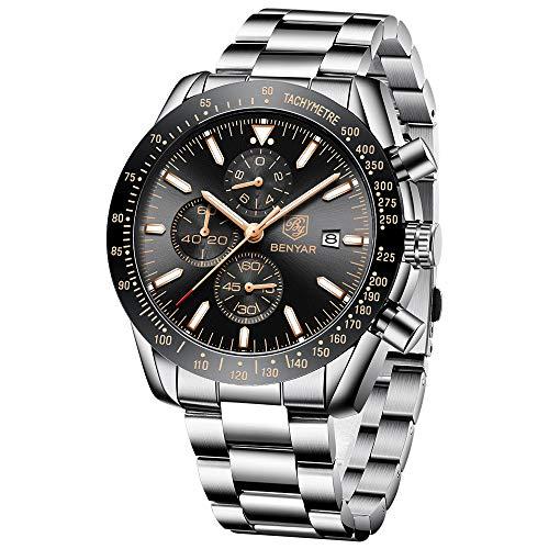 BENYAR Reloj cronógrafo para Hombre Movimiento de Cuarzo Correa de Acero Inoxidable Fashion Business Sports Watch 30M Impermeable Elegante Regalo de los Hombres