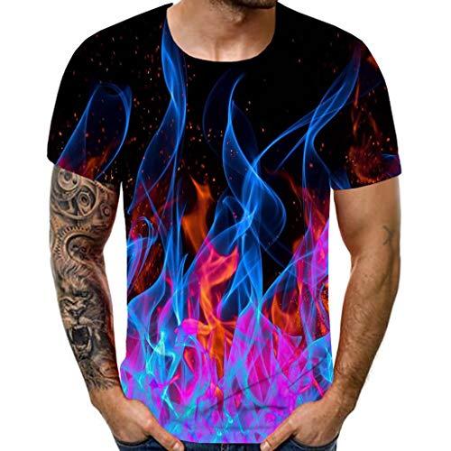 WUSIKY Tshirt Herren Hemd Herren Kurzarm Sommer Oversize Oberteile Neues mit Rundhalsausschnitt Kurzarmoberteil mit Blauer Flamme 3D-Print T Shirts Männer Hemden (Mehrfarbig, 3XL)