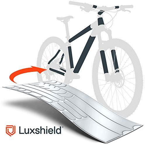 Luxshield Fahrrad Lackschutzfolie für Mountainbike, BMX, Rennrad, Trekkingrad etc. - 21-teiliges Rahmen-Set gegen Steinschlag - Transparent matt & selbstklebend