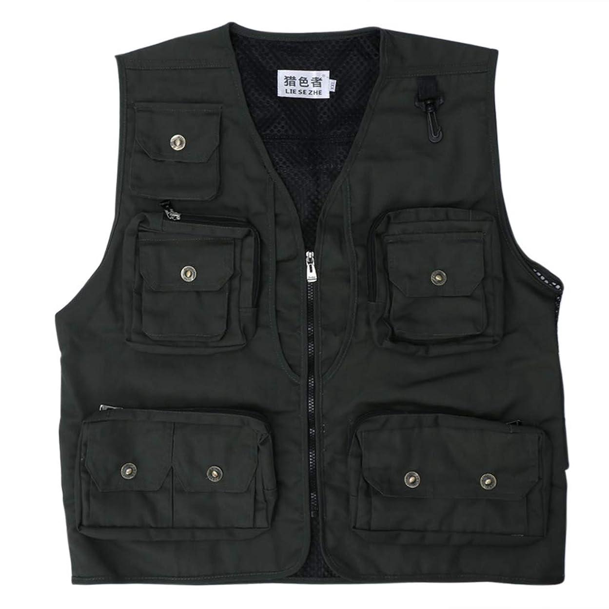 定数次記事shunxinersty釣りベスト多機能ポケットジャケット通気性のセーフティメッシュアウトドアスポーツ写真服男性クイックドライファッションマルチポケットグリーン2 XL#