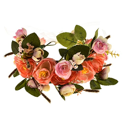 Love Sweety Rose Flower Headband Floral Crown Garland Halo - pink - One Size
