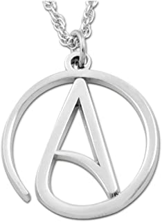 "EvolveFISH Circle Atheist Silver Necklace - 1"" Diameter"