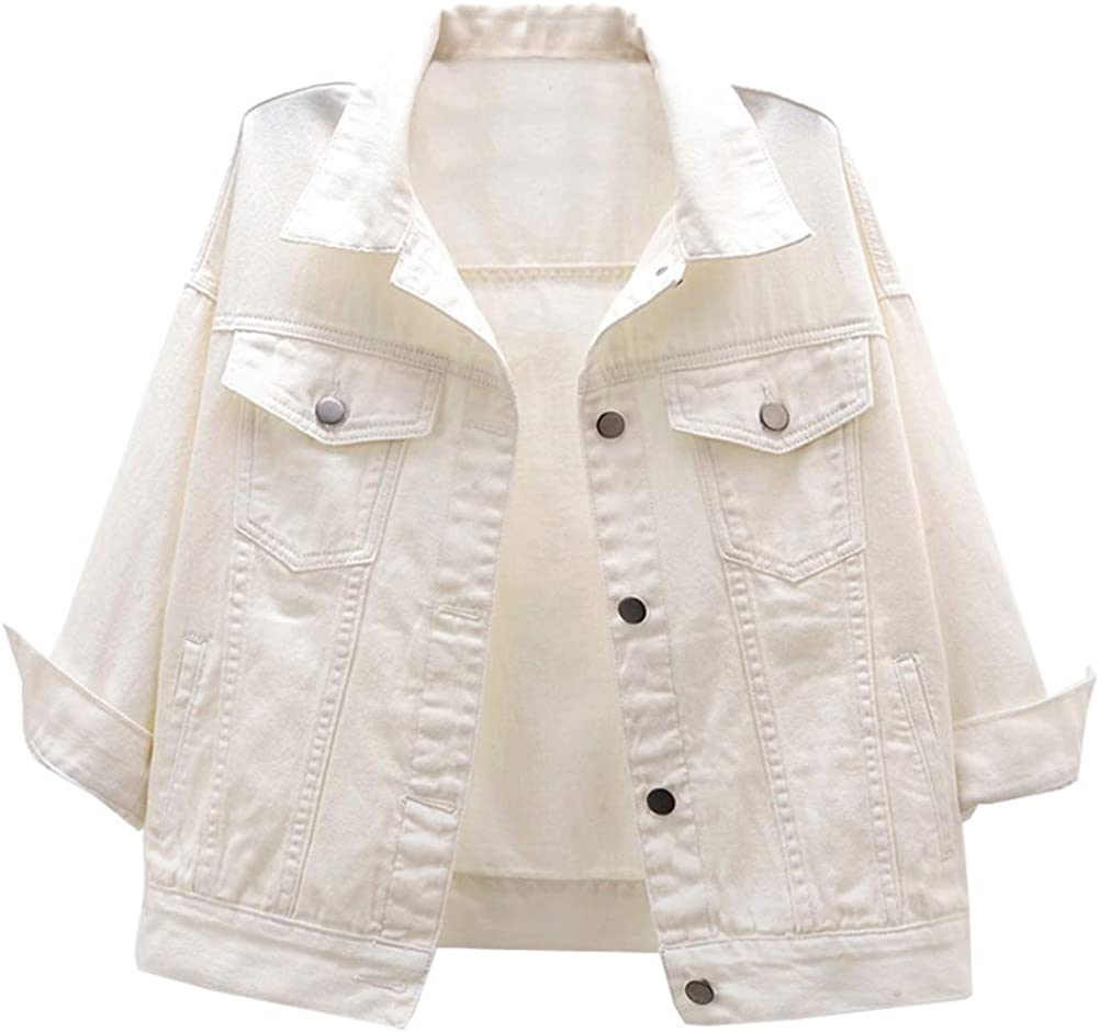 LifeShe Women's Basic 3/4 Sleeve Button Down Denim Jean Jacket Coat