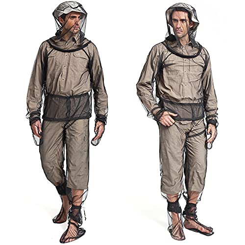 Sofiey 4 Pieces Mosquito Net Suit– Jacket Hood& Pants& Mitts& Socks Sets, Light-Weight& Breathable Mesh Clothing for Men& Women, Ideal for Fishing, Hiking, Camping, Farming and Gardening (S/M)
