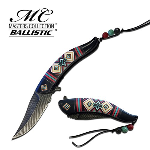 MTECH USA 8.5' Native American Indian Spring Assisted Open Pocket Knife Damascus Feather
