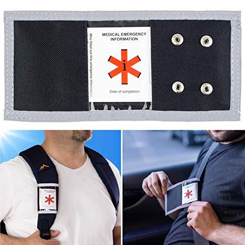 Erste Hilfe Ausweis für Auto und Rucksack, Medizinische Notfall Informationen am Sicherheitsgurt, Gurt SOS Ausweis, für Ersthelfer und Notarzt, für jeden Autogurt, leuchtet im Dunkeln, Unfall Rettung