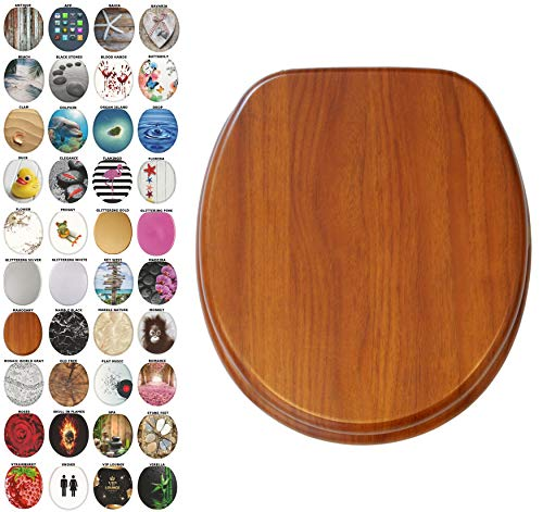 Sanilo Round Toilet Seat, Wide Choice of Slow Close Toilet Seats, Molded Wood, Strong Hinges (Mahogany)