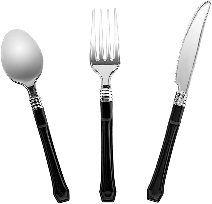 Luxcathy 90 Pieces Black Fashion Disposable Plastic Cutlery Valuepack 30 Knives 30 Forks 30 Spoons With Black Handle