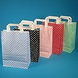 250 Papiertragetaschen Papiertüten Einkaufstüten Papier farbig bunt mit weißen Punkten