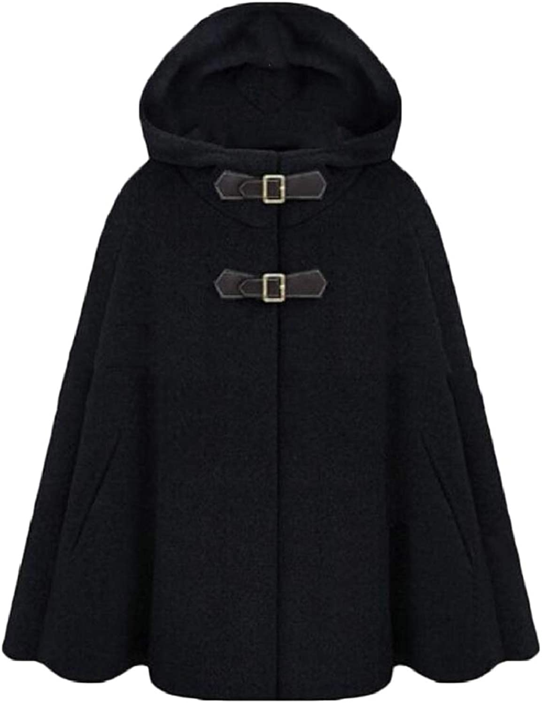 PujinggeCA Womens Autumn Pea Coat Cloak Loose Shawl Wool Coat Outwear