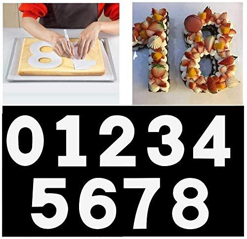 Stampo per torta grande con numeri da 0 a 9, set per torte, per glassa, crema, torta alla frutta, torta nuziale, compleanno, 25 cm