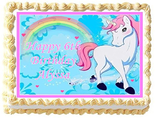 Unicorn with Rainbow Edible Frosting Sheet Cake Topper - 1/4 Sheet