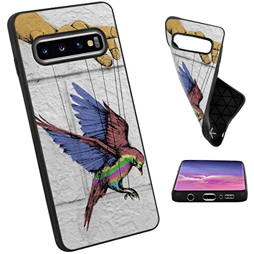 Mojene Samsung Galaxy S10 Frosted Phone Case Hawk Hummingbird Absorption TPU Backplate Black