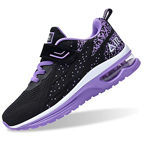 PERSOUL Air Shoes for Boys Girls Kids Children Tennis Sports Athletic Gym Running Sneakers (Violet Size 7 Toddler)