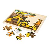 Melissa & Doug Construction Vehicles Wooden Jigsaw Puzzle with Storage Tray (24 Pieces, Great Gift for Girls and Boys - Best for 3, 4, and 5 Year Olds)